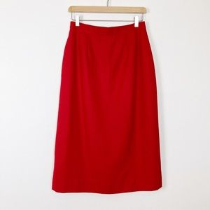 Vintage high waisted midi skirt pencil red wiggle